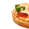Pancakes with red caviar traditional russian food Stock Photos