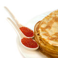 Pancakes with red caviar traditional russian food Stock Image