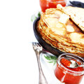Pancakes with red caviar on white background traditional russian food Royalty Free Stock Photography