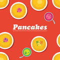 Pancakes.Russian cuisine. Template for menu with cooking utensi