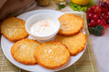 Pancakes with sourcream Royalty Free Stock Photo