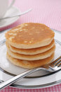 Pancakes stack of plain buttermilk no butter or syrup Stock Photos