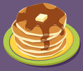 Pancakes stack of with syrup and butter Royalty Free Stock Images