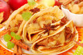 Pancakes with stewed apples ,raisins and cinnamon Stock Image