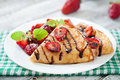 Pancakes with strawberries and chocolate Royalty Free Stock Photo