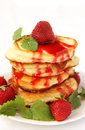 Pancakes with strawberries and jam Royalty Free Stock Photo