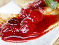 Pancakes with strawberry jam closeup Royalty Free Stock Image