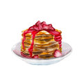 The pancakes with strawberry syrup isolated on white background, watercolor illustration