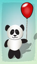 Panda and balloon happy celebrating with red Royalty Free Stock Image