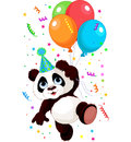 Panda and balloons funny flying with Stock Image