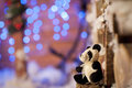 Panda bear Christmas tree toy wodden detalis blue Royalty Free Stock Photo
