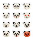 Panda bear emotion icons set Royalty Free Stock Photos