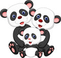 Panda bear family cartoon illustration of Stock Image