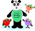 Panda Bear with Healthy Fruits Royalty Free Stock Photo