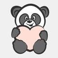Panda bear toy with heart