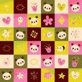 Panda bears hearts flowers nature pattern