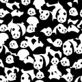 Panda black white many seamless pattern