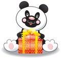 Panda with a box Royalty Free Stock Photo