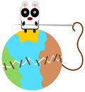 Panda can stitch illustration of a stitching a broken earth Royalty Free Stock Photography