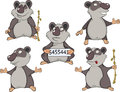 Panda clip art cartoon the complete set of lovely nice pandas Royalty Free Stock Photos