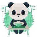 Panda eating rice using chopsticks Stock Image