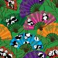 Panda fan seamless pattern