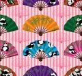 Panda fan symmetry seamless pattern