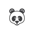 Panda head icon vector, filled flat sign