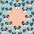 Panda head love circle frame