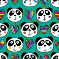 Panda head love seamless pattern