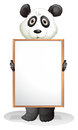 A panda holding an empty board illustration of on white background Stock Images