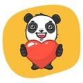 Panda Holds Heart Symbol
