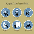 Panda Hospital Rooms Icon Collection