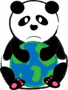 Panda hug world cartoon the with white isolated background Royalty Free Stock Images