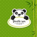 Panda illustration of cute with bamboo branch Stock Photos