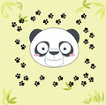 Panda illustration with footprints and bamboo leaves Royalty Free Stock Photography