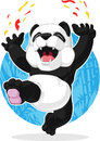 Panda jumping in excitement a vector image of a cute cartoon of excitedly drawn cartoon style this vector is very good for design Stock Photos