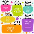 Panda and kittens illustration cute animals set frame Royalty Free Stock Image