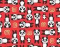 panda leaf seamless pattern