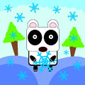 Panda love snow a cartoon holding a very big flake Stock Image