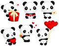 Panda in Love Vector Set Royalty Free Stock Photo