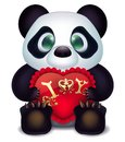 Panda loves with hearts pillow and inscription declaration of love Royalty Free Stock Photo