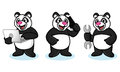 Panda mascot vector avec l ordinateur portable Photos stock