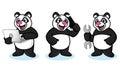 Panda mascot vector med bärbara datorn Arkivfoton