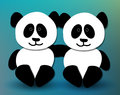 Panda pals cute hugging and smiling Stock Image
