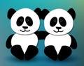 Panda pals cute hugging and smiling Stock Image