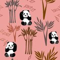 Panda Pattern Seamless Repeat Vector Background in Coral