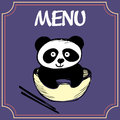 Panda with a plate with chopsticks, menu or banner Royalty Free Stock Photo