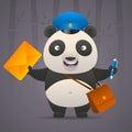 Panda postman holds letter