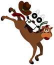 Panda rodeo a with a cowboy hat doing a stunt Royalty Free Stock Photography